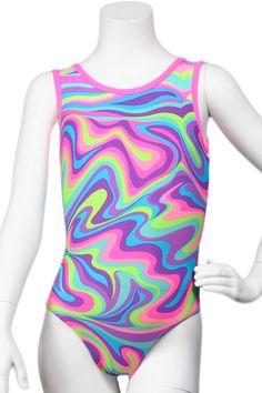 Neon Pastel Wave Leotard - NEW! on our website. #leotard #gymnast #gymnastics