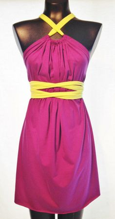 Short Cotton Jersey Knit Bright Purple Colored SACK Dress. This dress can be worn in more than 20 different ways, and one size fits all!  #neon #dress  #wrapdress  #sackdress  #custom  #interchangeable  #onesizefitsall  #bright #purple  #ecofashion