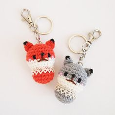 Fox, Wolf - Crochet Animal Doll, Amigurumi, Keychain (Keyring, Keyholder) They are lovely dolls for your key, also they can be your bag accessory.