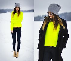 Asos Beanie, Ray Ban Sunglasses, Cubus Sweater, H&M Belt, Dr. Denim Jeggings, Zara Shoes - NEON - Maria  L.