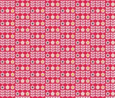 Red flower fabric by mondaland on Spoonflower - custom fabric