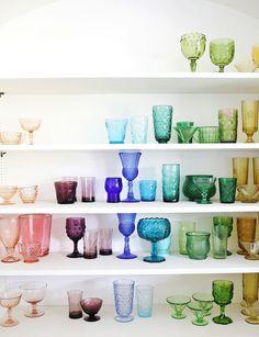 Rainbow glassware collection x a beautiful mess/elsie larson Vintage Glassware, Vintage Tableware, Beautiful Mess, Display Shelves, Open Shelves, Home Living, Interiores Design, Colored Glass, Kitchenware