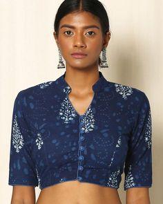 Buy Indigo Indie Picks Indigo Handblock Print Cotton Blouse