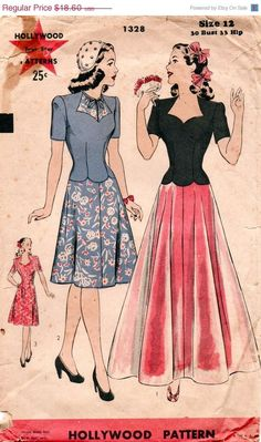 Vintage 1940's HOLLYWOOD Pattern 1328 - GLAMOROUS Day or Evening Dress with Sweetheart Neckline - Unused - Size 12 I adore the blue one #ilovetosew