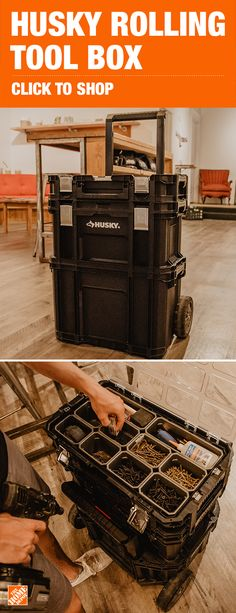 Customize the way you transport your tools and accessories by choosing this excellent Husky Connect Rolling System Tool Box. Essential Woodworking Tools, Best Woodworking Tools, Woodworking Clamps, Easy Woodworking Projects, Woodworking Equipment, Wood Projects, Tool Organization, Tool Storage, Organizing