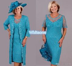 Vintage Plus Size Mother Of The Bride Dresses Sky Blue Lace With Jacket Long Sleeve Knee Length 2016 Women Formal Wear Evening Dresses Casual Mother Of The Groom Dresses Cheap Mother Of Bride Dresses From Whiteone, $146.03| Dhgate.Com