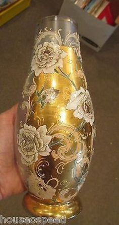 "GORGEOUS BOHEMIAN ART DECO MOSER Style Gold CZECH 8"" FROSTED Floral Rose VASE (03/27/2014)"