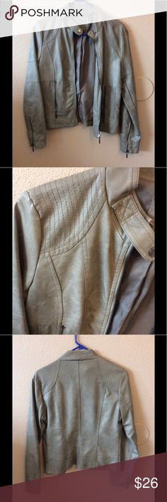 Grey faux leather jacket Great quality. Never worn. Brand is max jeans Zara Jackets & Coats