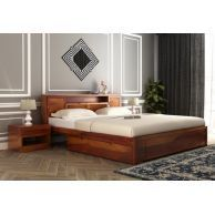Buy Ferguson Bed Without Storage (Queen Size, Honey Finish) Online in India - Wooden Street Wooden Bed With Storage, Bed Designs With Storage, Bed Storage, Bed Without Storage, Wood Bed Design, Wooden Street, Wood Beds, Headboard And Footboard, Bed Styling