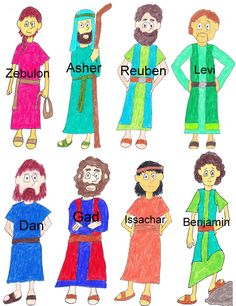 """Printable, tho' cartoony, sons of Jacob. There is a song sung to the tune of """"Ten Little Indians""""  Reuben, Simeon, Levi, Judah...Isaachar, Zebulon...Dan and Naphtali...Gad and Asher...Joseph and Benjamin.   The sons are in order of which mother produced them. Leah had the first 6, Rachel's handmaid, Bilhah, was the mother of Dan and Naphtali. Leah's handmaid, Zilpah, produced Gad and Asher. Rachel had Joseph and died giving birth to Benjamin."""