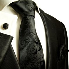Paul Malone Necktie, Pocket Square and Cufflinks Silk Black Paisley This elegant Paul Malone Silk Necktie Set includes:-Silk Necktie -matching Silk Pocket Hipster Design, Vintage Hipster, Father Of The Bride Outfit, Extra Long Ties, Tuxedo Wedding, Wedding Tuxedos, Wedding Ties, Gown Wedding, Wedding Groom
