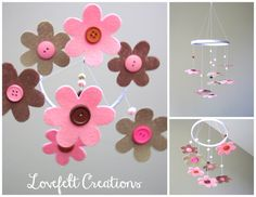 Crib Mobile - Baby Girl Mobile - Baby crib mobile - Pink and Brown  - Many Colors Available :). $72.00, via Etsy.
