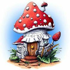 Make It Crafty: Mushroom House digi stamp Mushroom House, Mushroom Art, Cartoon Mushroom, House Drawing, Digi Stamps, Fairy Houses, Doodle Art, Painted Rocks, Fantasy Art
