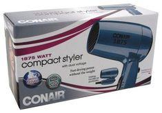 Conair Vagabond Folding Handle 1875 Watt Compact Hair Dryer 1 ea - Pack of 5 -- Read more at the image link. Fun Shots, Hair Dryer, Ea, Compact, Image Link, Packing, Handle, Cool Stuff, Bag Packaging