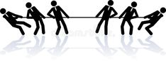 Rope pulling business people. Two teams of business people (stick figures Watercolor Paper Texture, Stick Figures, Competition, Stock Photos, Business, Illustration, People, Basic Drawing, Store