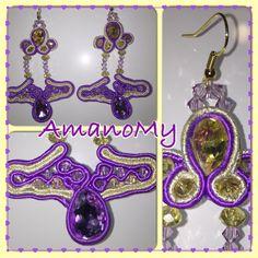 #orecchini#earrings#viola#purple#gild#oro#svariwku#strass#pietre#soutaches##handmade#fattiamano#