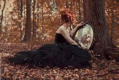 beautiful whimsical photography   beautiful, dark dress, fall, magic forest, mirror - inspiring picture ...