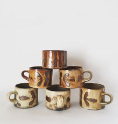 Seaweed Patterned Mugs - Handmade pottery mugs coffee cups - Functional pottery by K. Olson