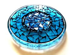 Stained Glass Mosaic Plate // Mosaic Candle by earthmothermosaics, $40.00