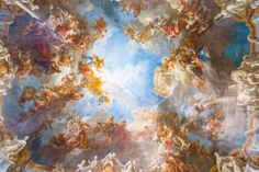 Ceiling painting of Palace Versailles near Paris France Self-Adhesive Wall Mural Pixers We live to change Ceiling Painting, Ceiling Murals, Wall Murals, Baroque Painting, Baroque Art, Renaissance Kunst, Renaissance Paintings, Painting Wallpaper, Photo Wallpaper