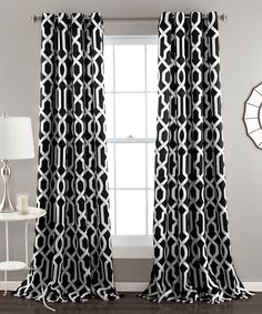 Black Bret Curtain Panel - Set of Two