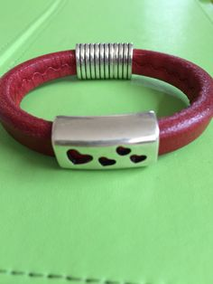 Silver Hearts Slide on Red Leather Bracelet by joytoyou41 on Etsy