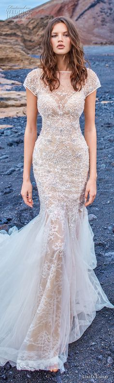 galia lahav gala 2018 bridal cap sleeves illusion bateau neck full embellishment elegant fit and flare wedding dress open back chapel train (6) lv  -- Gala by Galia Lahav Collection No. 5 Wedding Dresses