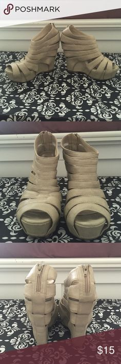 Nude wedge Perfect for summer, nude wedge, casual or formal, comfortable Qupid Shoes Wedges