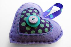 Felt Heart Ornament-Purple and Teal Dots | Flickr - Photo Sharing!