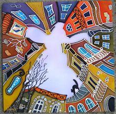 / an angel over the city / batik / Guache, Building Art, Silk Art, Art Abstrait, Naive Art, Whimsical Art, Art Plastique, Silkscreen, Fabric Painting