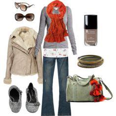 Orange scarf with grays
