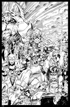 WildC.A.T.s WildStorm Comic Book Artists, Comic Artist, Comic Books Art, Jim Lee Art, Black And White Comics, Image Comics, Black And White Illustration, Dark Fantasy Art, Adult Coloring Pages
