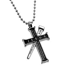 'Jesus' - Black Established Cross Necklace