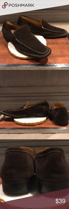 Stacy Adams loafers Lightly worn and in excellent preowned condition with no major flaws. Dark brown suede upper with contrast stitching details. Light scuffs and moderate outside wear on heels. Handsome and distinctive. Stacy Adams Shoes Loafers & Slip-Ons