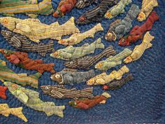 Nice fish quilt from the International Quilt Festival. Quilt Festival, Fabric Art, Fabric Crafts, Tutorial Patchwork, Fish Quilt, Creation Art, Quilt Modernen, Landscape Quilts, Japanese Embroidery