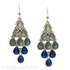 """Lila Waterfall Shimmering Chandelier Silver Drop 2 3/4"""" Earrings MJB 0951782 #ModellaJewelryBoutique"""