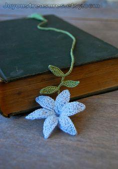 Crochet Flower Bookmark Handmade Blue Lily Flower via Etsy