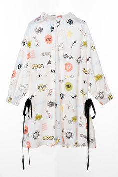FRS White Print High Neck Drawstring Dress