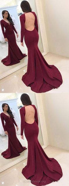 Mermaid Prom Dresses, Long Prom Dresses With Sleeves, V-neck Evening Dresses 2018, Modest Formal Dresses for Teens #BurgundyDress