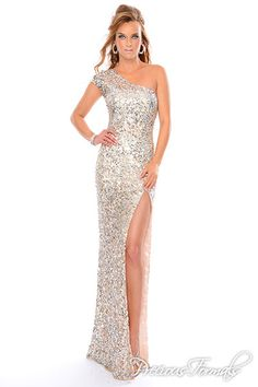 Precious Formals Style P9073 Single over the shoulder hand beaded slim hand beaded dress with high slit and sheer back.