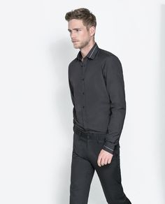 655e6dc28 ZARA BLACK POPLIN SHIRT WITH PIPING ON COLLAR AND CUFFS