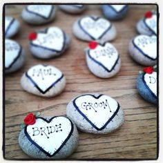 Wedding table place setting / Favors Personalised package shabby chic hand painted pebbles on Etsy, £3.50