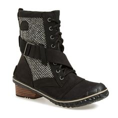 "SOREL 'Slimboot' Waterproof Lace-Up Boot, 1 1/2"" heel (195 CAD) ❤ liked on Polyvore featuring shoes, boots, ankle booties, ankle boots, black, black lace up booties, leather ankle boots, black leather booties and black bootie"