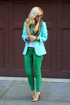 i dislike the outfit bc I dont think the blazer goes with this color of pants. that being said each piece is cute, everything with white pants or super dark blue jeans would look amazing or you could take the green pants and wear a different colored blazer with the scarf and the shoes.: