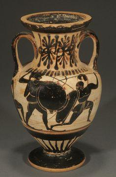 ATTIC SMALL BLACK-FIGURE WHITE-GROUND NECK AMPHORA, LIGHT-MAKE CLASS Ca. 500-480 BC