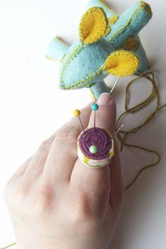 "pincushion ring - also love the felt deer pincushion for your ""main"" tabletop pincushion"