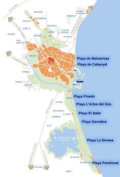 Map of Valencia Beaches