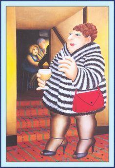 *The Fun Fur. Artwork by Beryl Cook Beryl Cook, Plus Size Art, Comic Art Girls, Fat Art, English Artists, Painted Jars, Fat Women, Art Themes, Girls Shopping