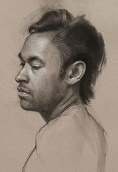Jeff Hein (b. 1974), charcoal {figurative art male head profile man face portrait drawing #loveart} jeffhein.com