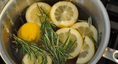Rosemary Lemon Vanilla Home Scent | You know that wonderful smell when you walk into Williams Sonoma? Here's how to get it: water, sliced lemon, 3 springs of fresh rosemary and about a teaspoon of vanilla. Simmer on the stove....this smells amazing! I used 2 lemons, 3 sprigs of rosemary and about 2 tablespoons if vanilla. It only took 5 minutes to make the whole house smell fresh!